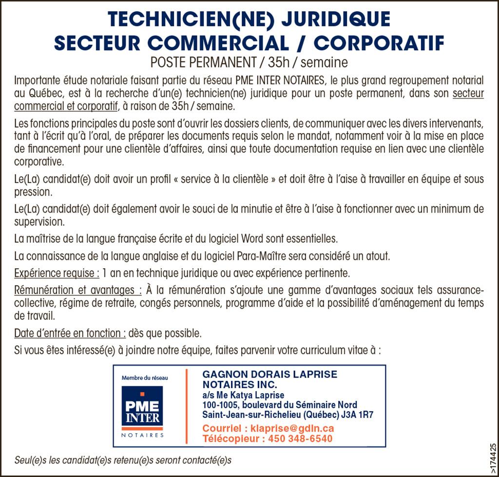 Logo de TECHNICIEN(NE) JURIDIQUE SECTEUR COMMERCIAL / CORPORATIF