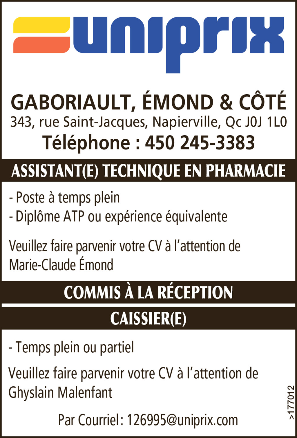 ASSISTANT(E) TECHNIQUE EN PHARMACIE
