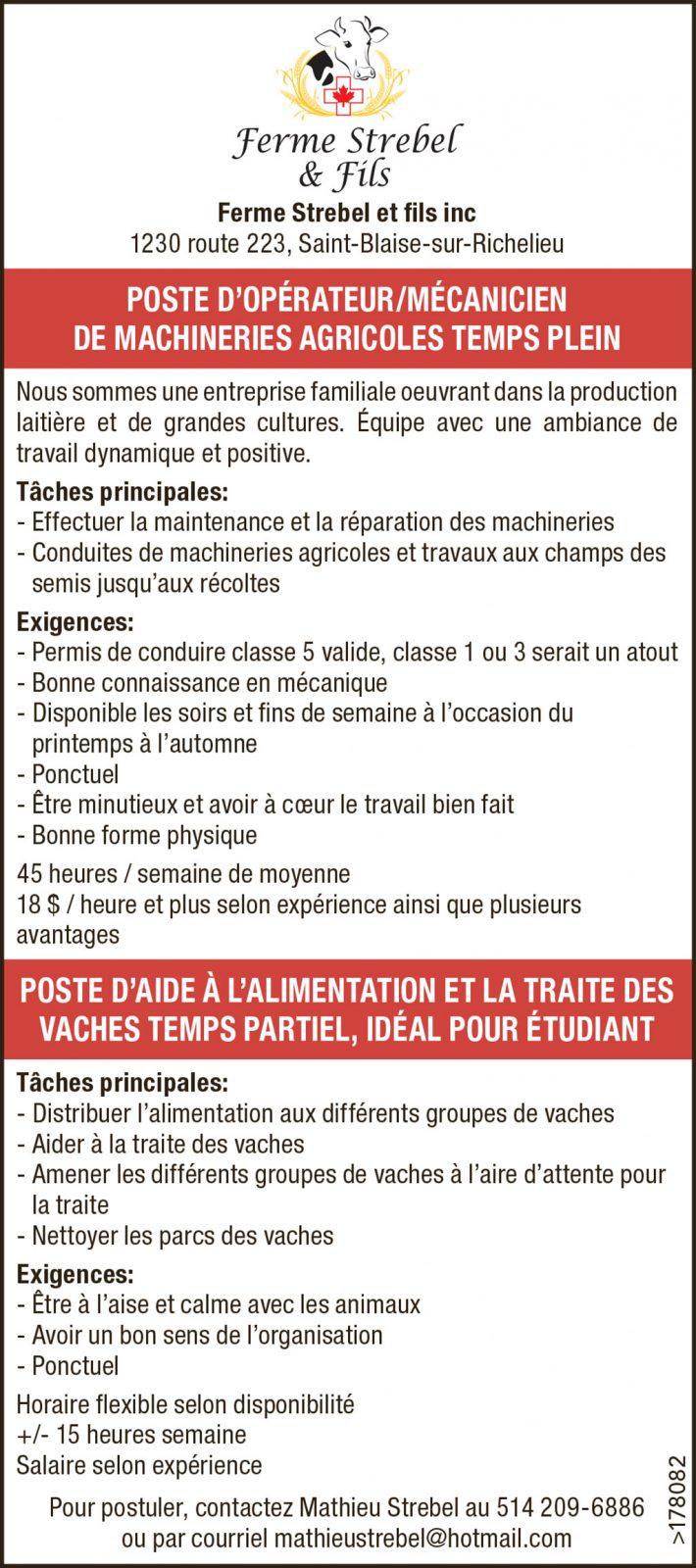 POSTE D'OPÉRATEUR/MÉCANICIEN DE MACHINERIES AGRICOLES TEMPS PLEIN