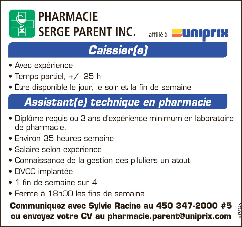 Caissier(e) – Assistant(e) technique en pharmacie