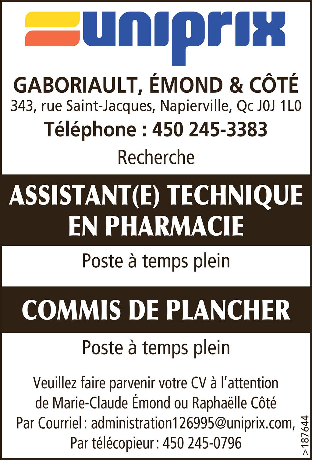 Logo de ASSISTANT(E) TECHNIQUE EN PHARMACIE – COMMIS DE PLANCHER