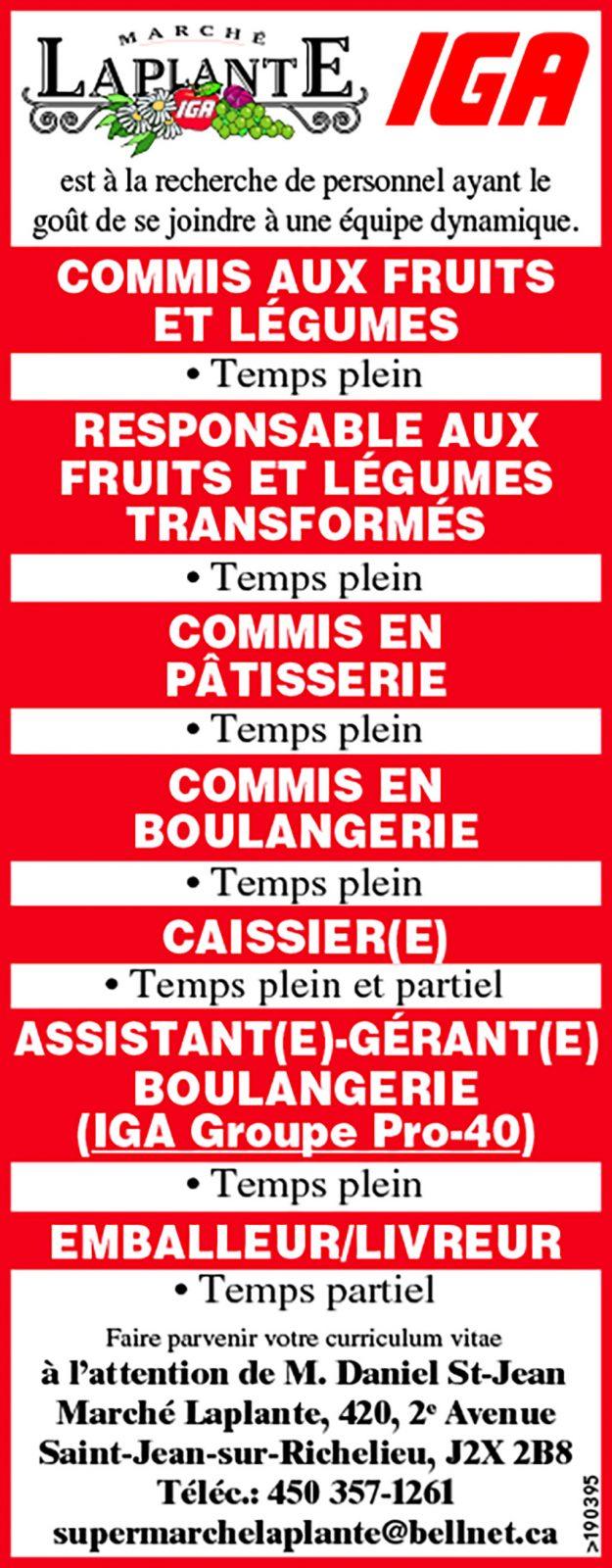 Logo de COMMIS AUX FRUITS ET LÉGUMES / RESPONSABLE AUX FRUITS ET LÉGUMES TRANSFORMÉS / COMMIS EN PÂTISSERIE / COMMIS EN BOULANGERIE / CAISSIER(E) / ASSISTANT(E)-GÉRANT(E) BOULANGERIE (IGA Groupe Pro-40) / EMBALLEUR/LIVREUR