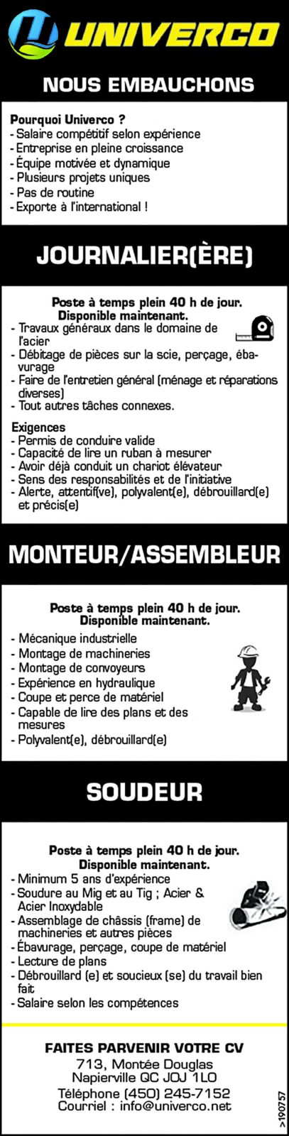 JOURNALIER(ÈRE) / MONTEUR/ASSEMBLEUR / SOUDEUR