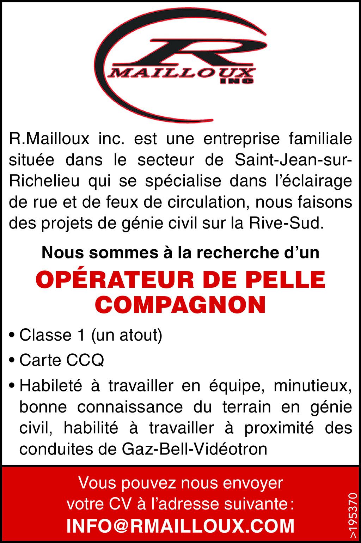 OPÉRATEUR DE PELLE COMPAGNON