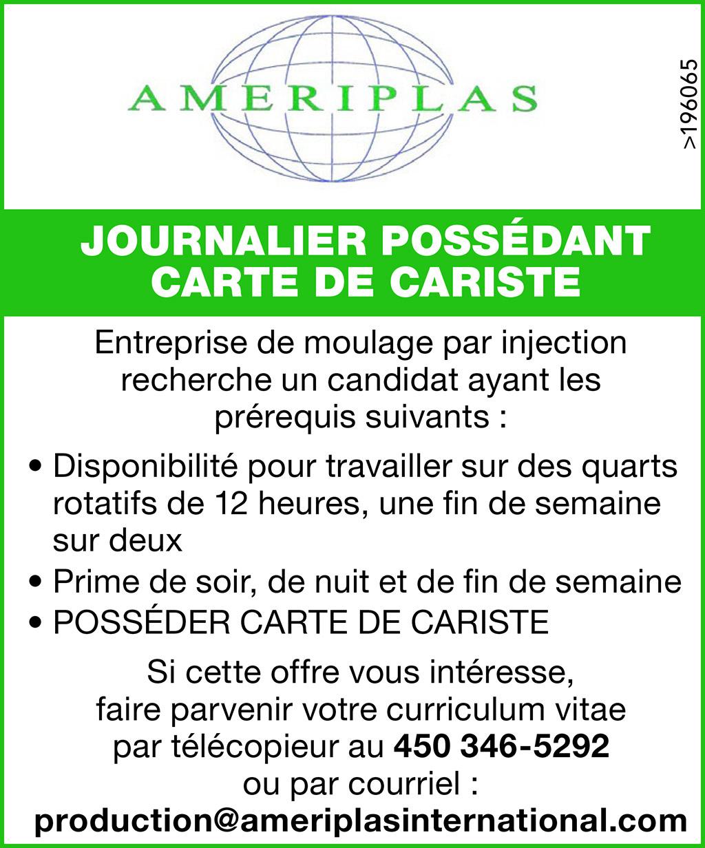 JOURNALIER POSSÉDANT CARTE DE CARISTE