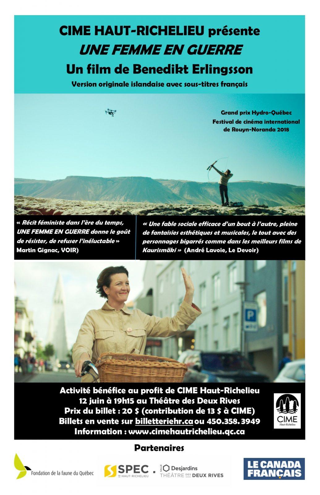 Projection du film «Une femme en guerre» au profit de CIME Haut-Richelieu