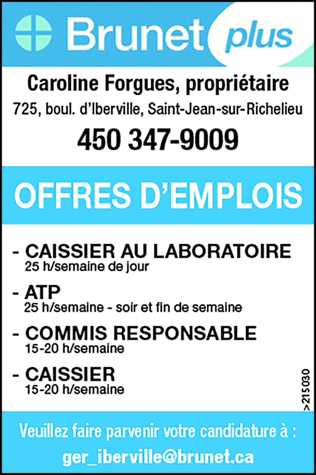 Logo de – CAISSIER AU LABORATOIRE – ATP- COMMIS RESPONSABLE- CAISSIER