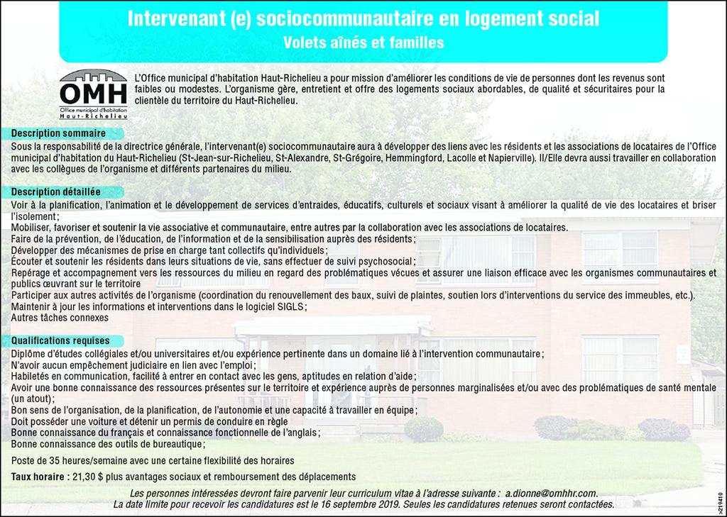 Intervenant (e) sociocommunautaire en logement social