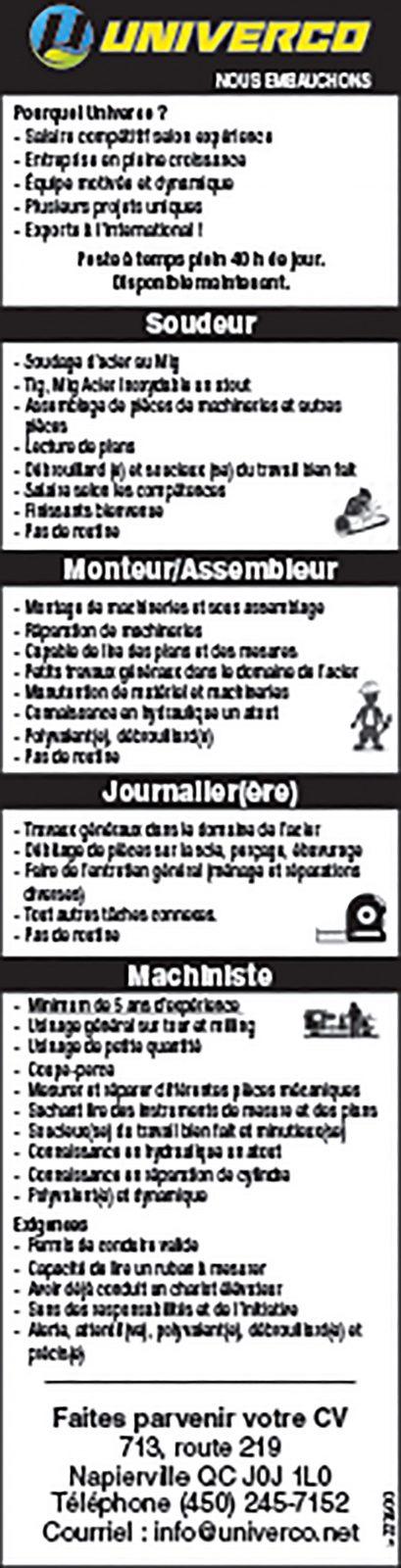Soudeur/ Monteur/Assembleur / Journalier(ère) / Machiniste