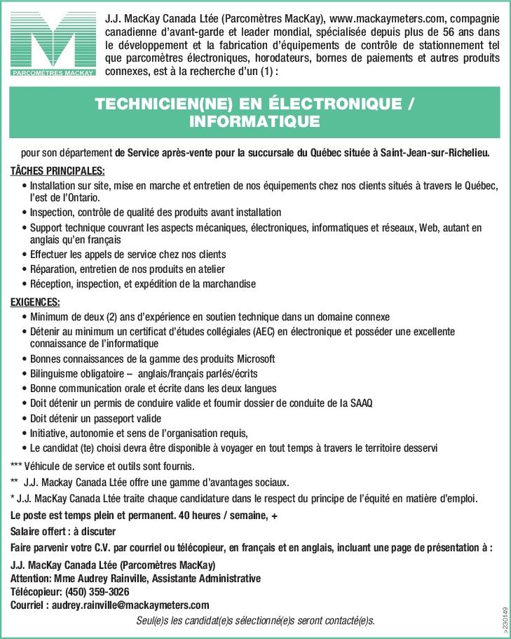 TECHNICIEN(NE) EN ÉLECTRONIQUE / INFORMATIQUE