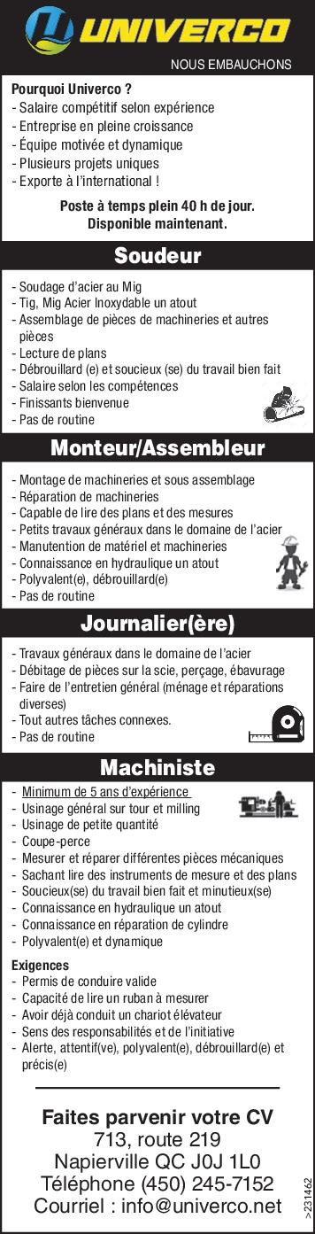 Soudeur / Monteur/Assembleur / Journalier(ère) / Machiniste