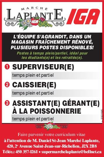 SUPERVISEUR(E) / CAISSIER(E) / ASSISTANT(E) GÉRANT(E) À LA POISSONNERIE