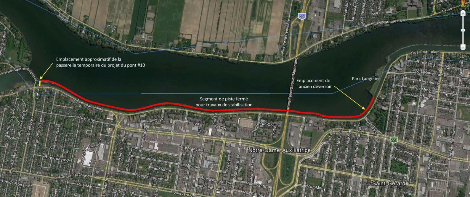 La bande du canal fermée sur trois kilomètres