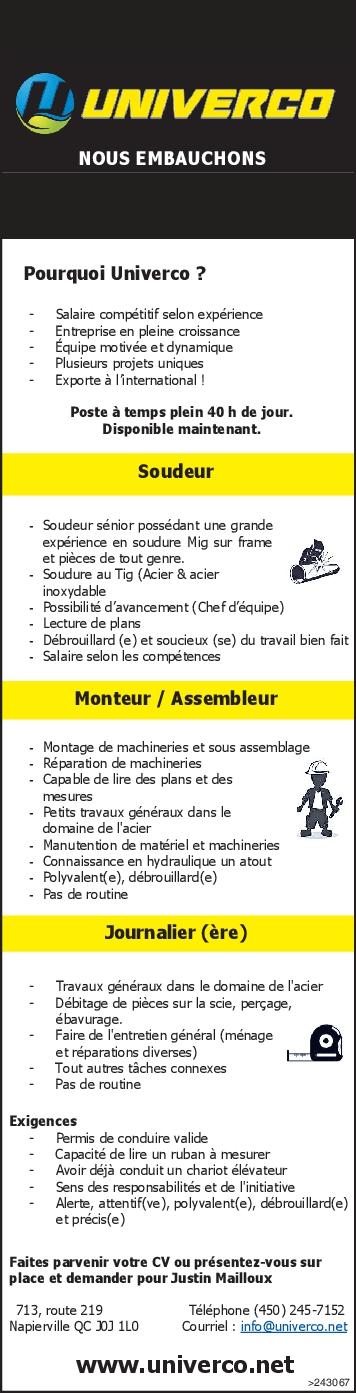 Logo de Soudeur / Monteur / Assembleur / Journalier (ère)