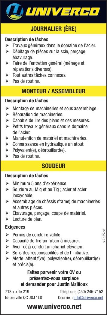 JOURNALIER (ÈRE) / MONTEUR / ASSEMBLEUR / SOUDEUR