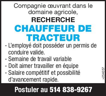 CHAUFFEUR DE TRACTEUR