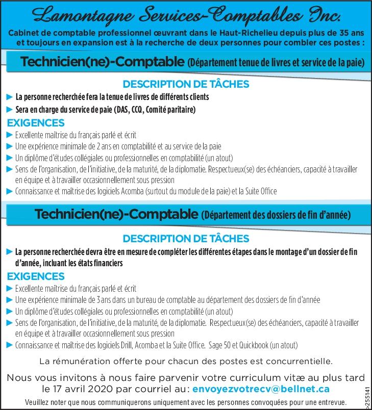 Technicien(ne)-Comptable (Département tenue de livres et service de la paie) / Technicien(ne)-Comptable (Département des dossiers de fin d'année)