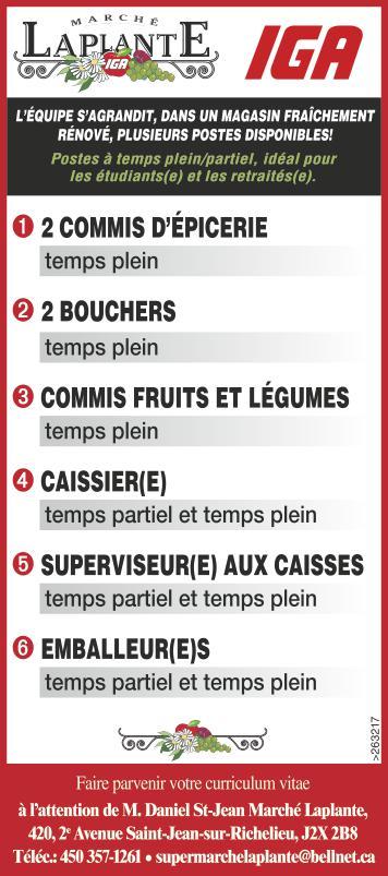 Logo de 2 COMMIS D'ÉPICERIE / 2 BOUCHERS / COMMIS FRUITS ET LÉGUMES / CAISSIER(E) / SUPERVISEUR(E) AUX CAISSES / EMBALLEUR(E)S