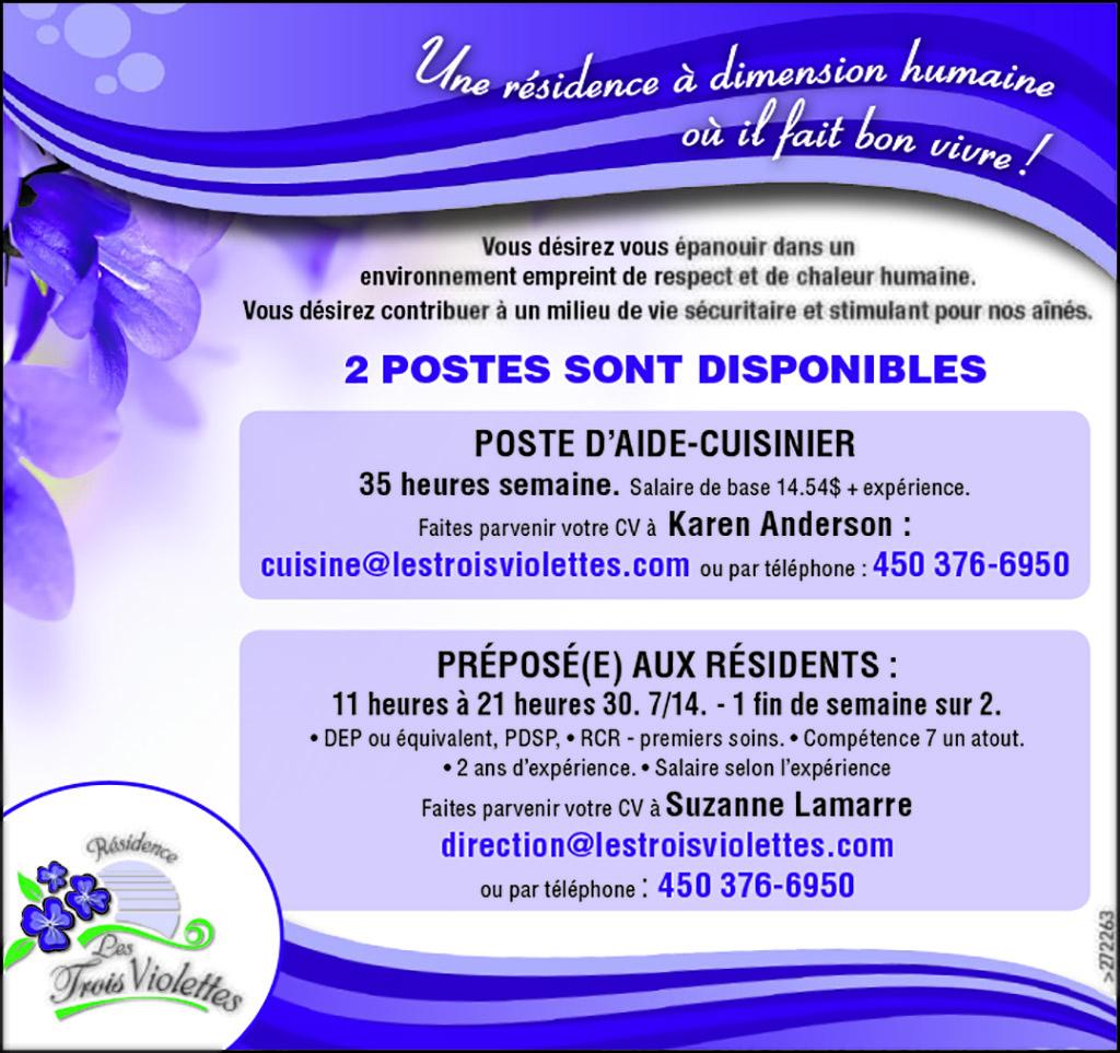 Logo de POSTE D'AIDE-CUISINIER et PRÉPOSÉ(E) AUX RÉSIDENTS