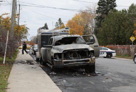Incendie suspect d'une camionnette