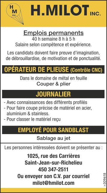 OPÉRATEUR DE PLIEUSE (Contrôle CNC) / JOURNALIER / EMPLOYÉ POUR SANDBLAST