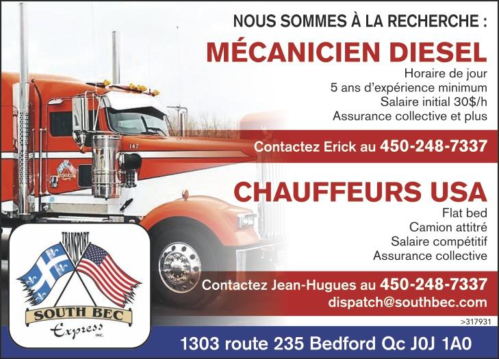 MÉCANICIEN DIESEL / CHAUFFEURS USA