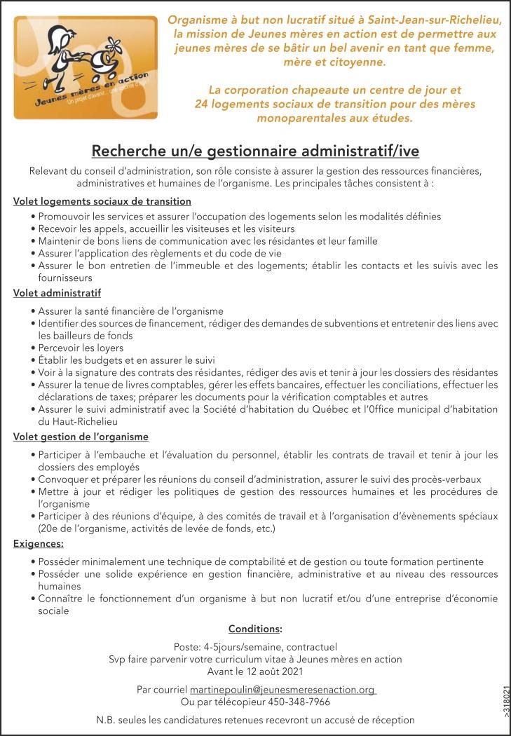 Gestionnaire administratif/ive