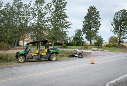 Un motocycliste gravement blessé sur le chemin Évangéline