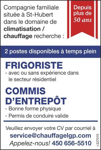 FRIGORISTE / COMMIS D'ENTREPÔT
