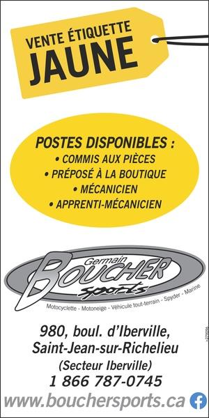 Boucher Sports Emploi et vente étiquettes jaunes